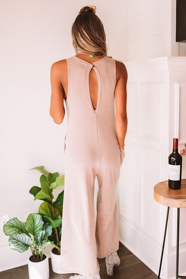 Simply Obsessed Jumpsuit in Iced Latte