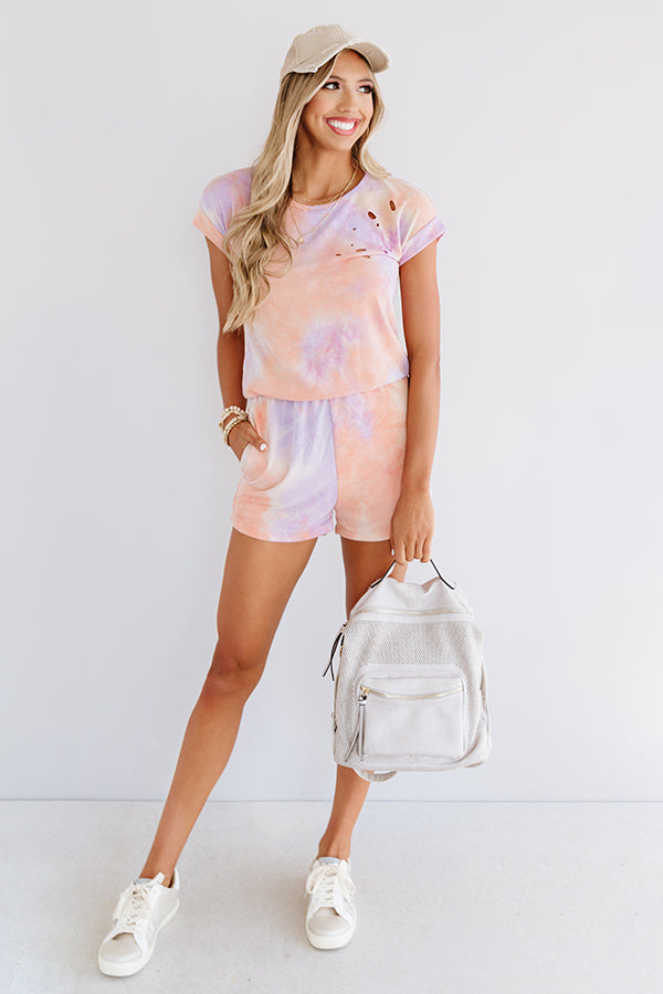 It's All Good Distressed Tie Dye Romper In Orange