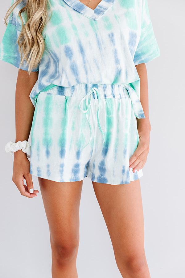 Rest And Relaxation Tie Dye Shorts In Ocean Wave