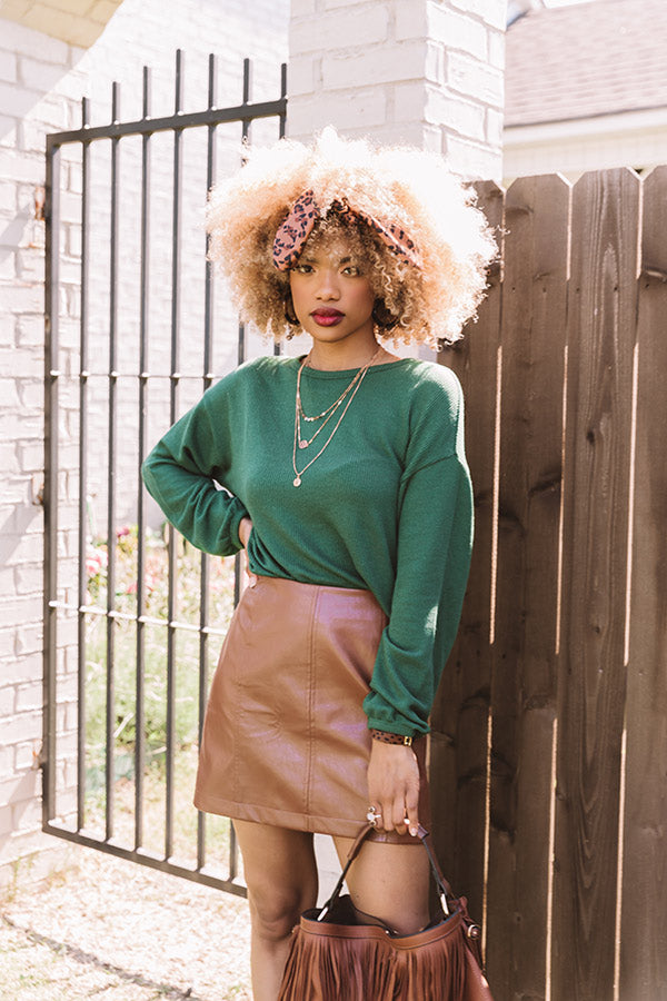 Under The Oak Tree Knit Crop Top In Olive