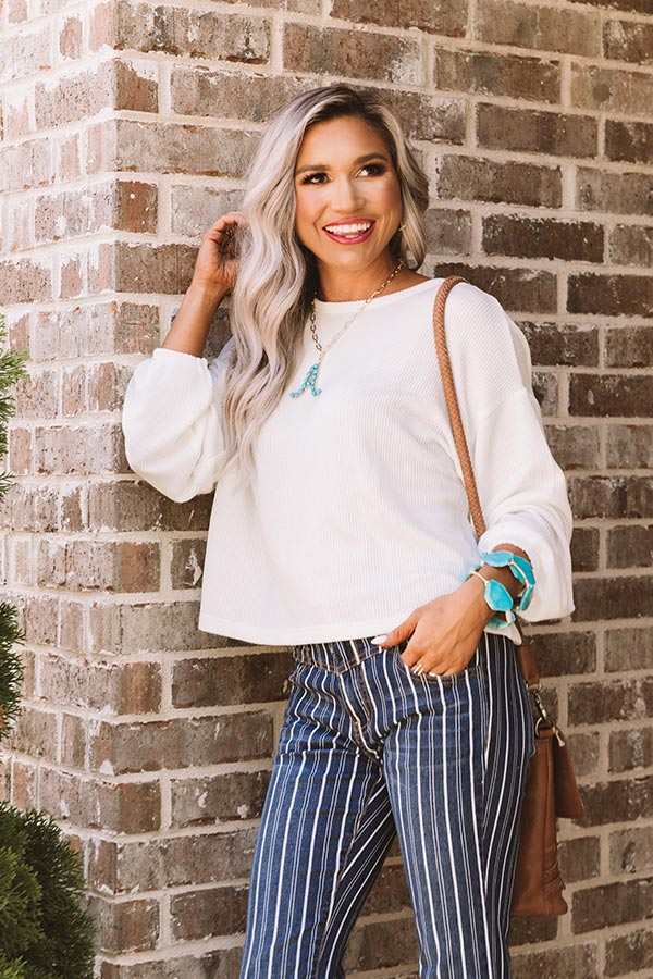 Under The Oak Tree Knit Crop Top In White