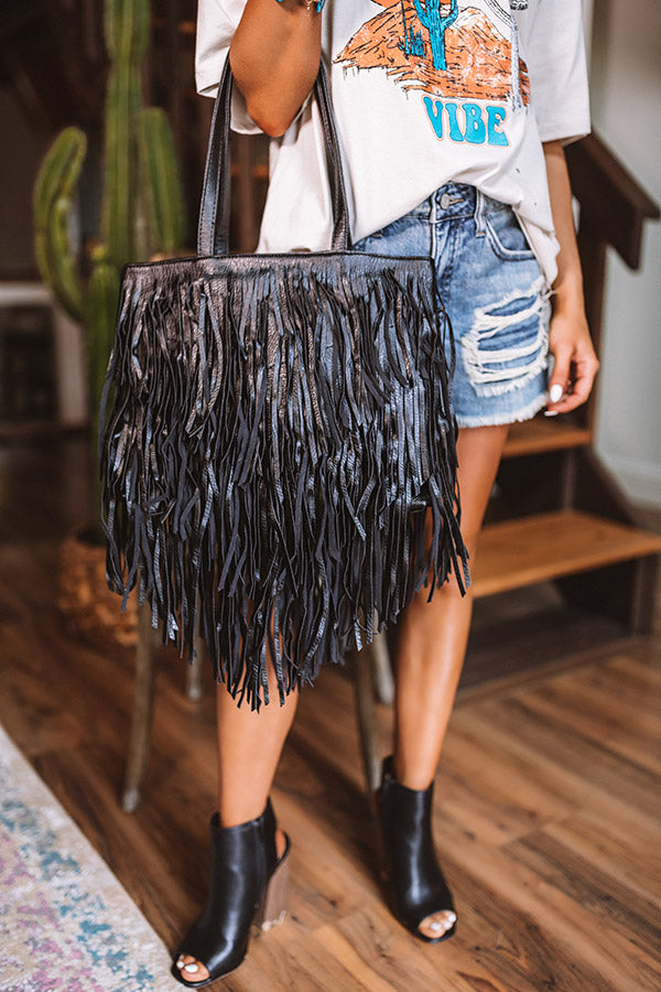 New On The Block Faux Leather Fringe Tote In Black