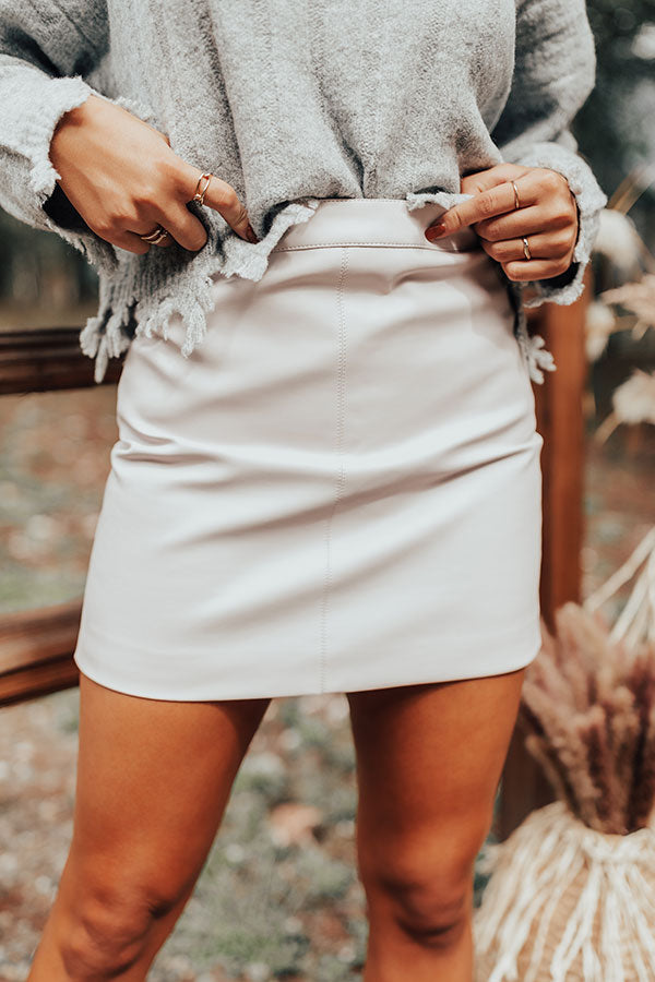 Grasp On Gorgeous Faux Leather Skirt In Light Pink