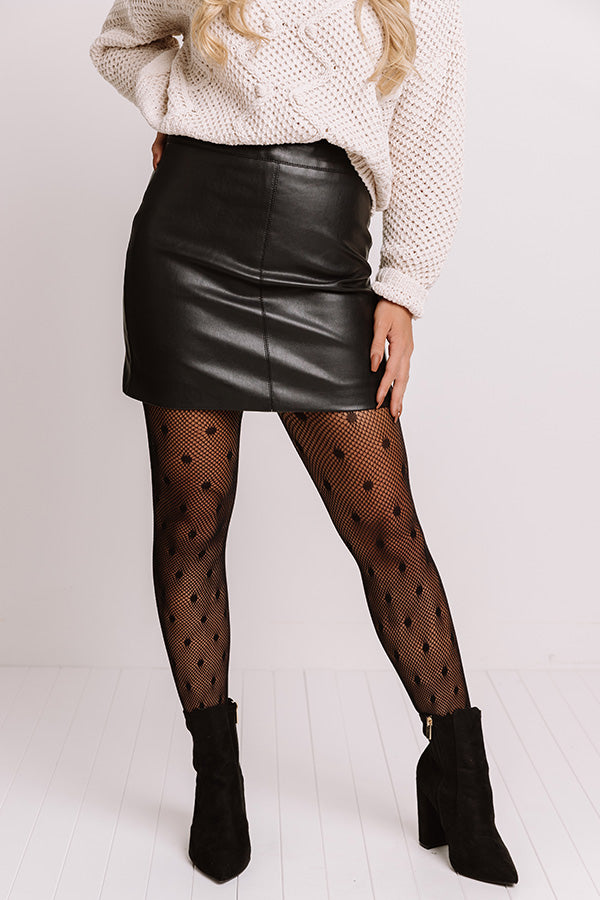 Grasp On Gorgeous Faux Leather Skirt In Black