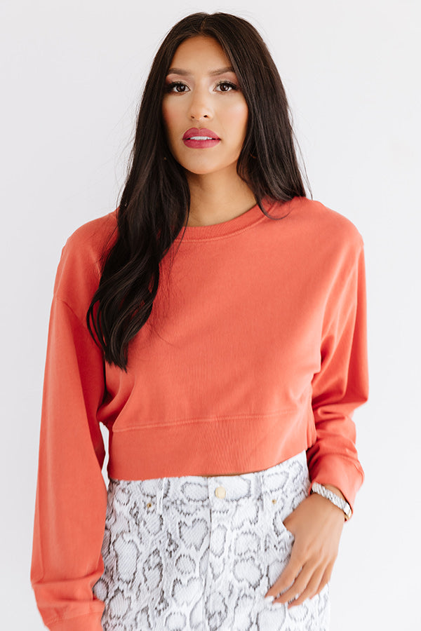 Feeling Zen Crop Sweatshirt In Tangerine