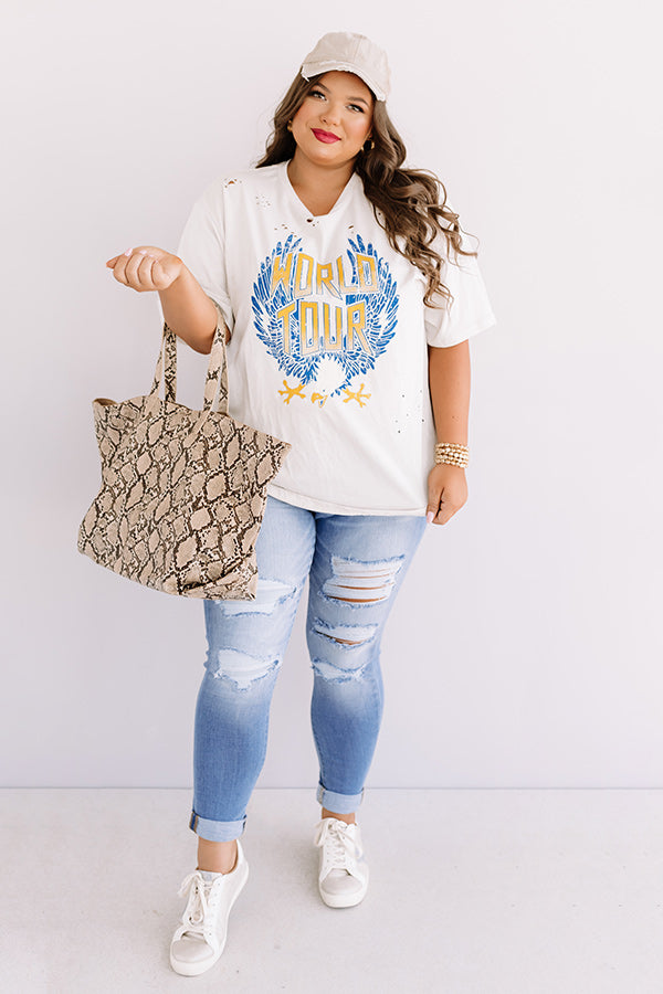 World Tour Distressed Boyfriend Tee In Birch