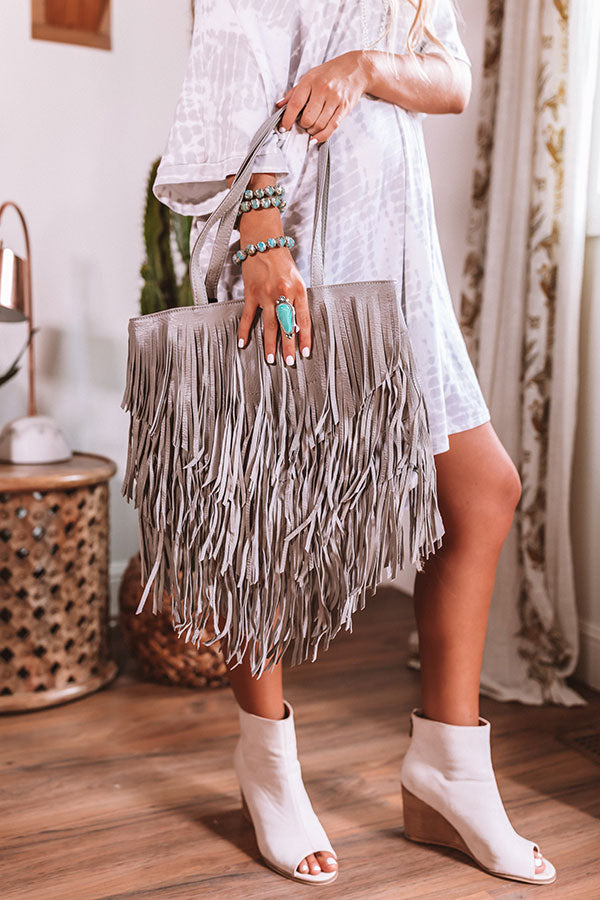 New On The Block Faux Leather Fringe Tote In Grey
