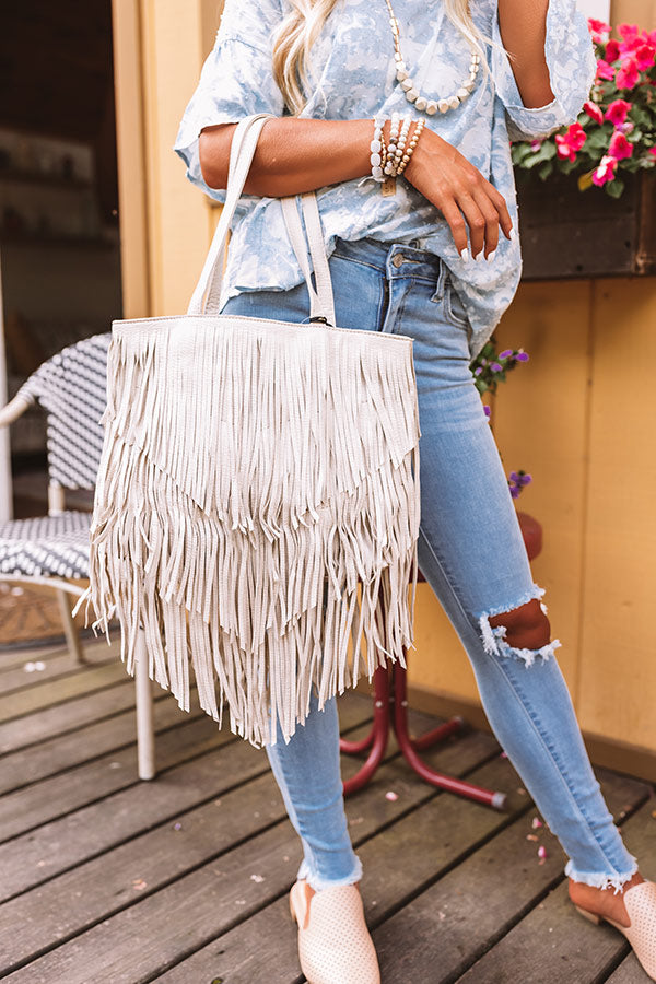 New On The Block Faux Leather Fringe Tote In Birch