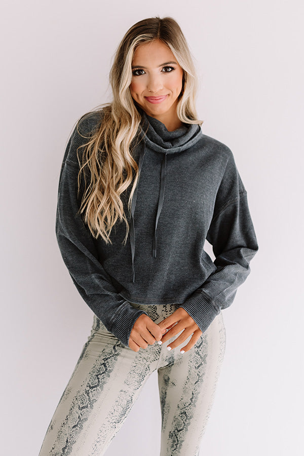 Latte Lover Waffle Knit Sweater In Charcoal