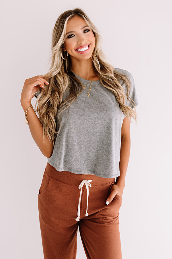 Away From It All Crop Top In Grey
