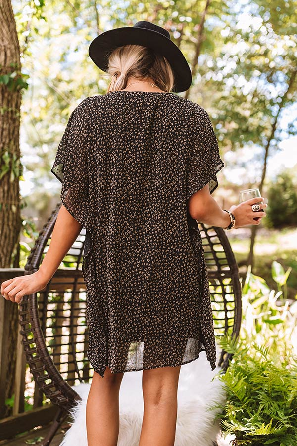 Sweetest Soul Leopard Shift Dress In Black