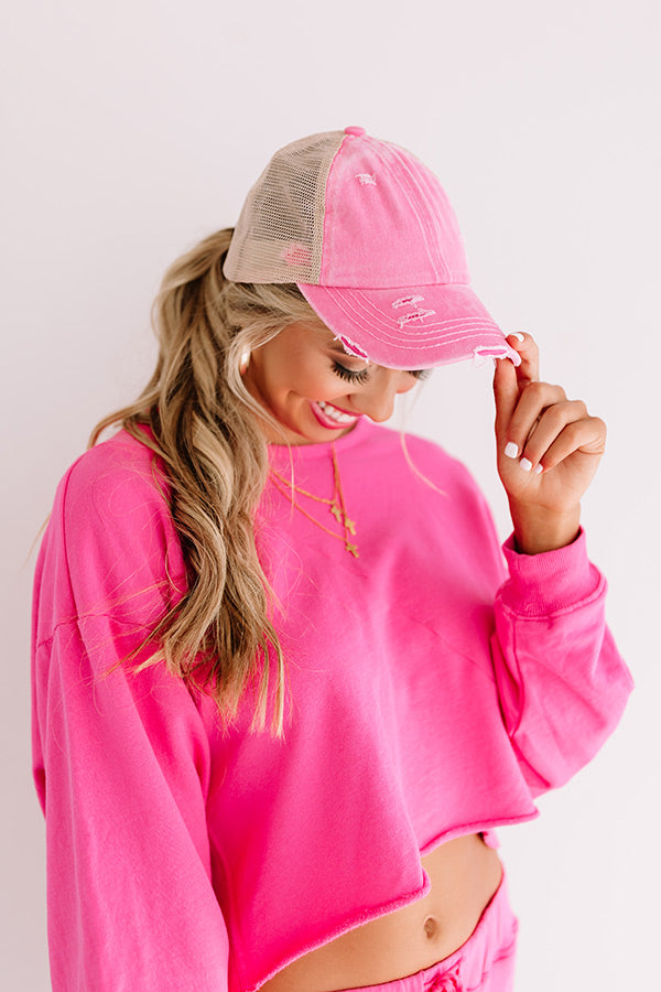Chic Standard High Pony Tail Cap In Pink