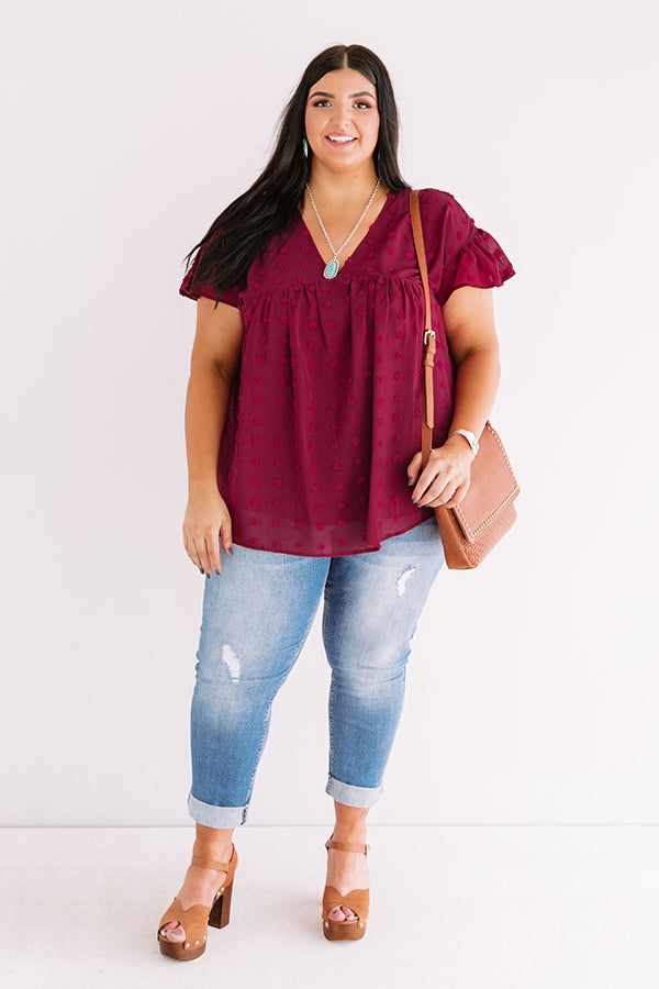Autumn Edit Babydoll Top In Wine