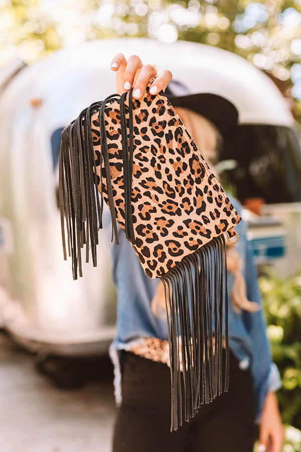 The Aria Leopard Leather Clutch