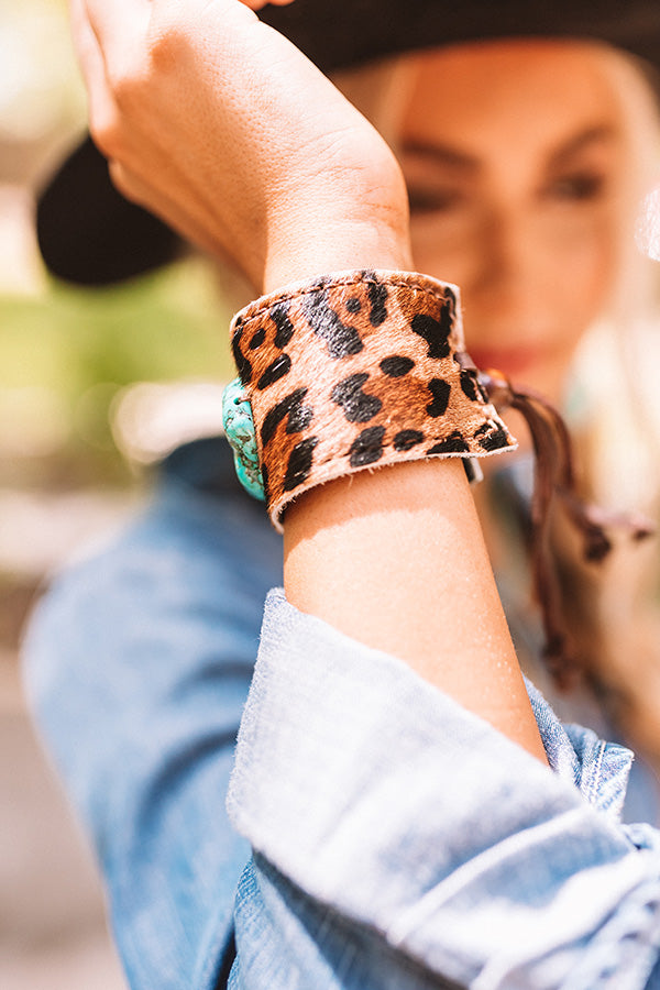 The Isla Leopard Print Leather Cuff Bracelet
