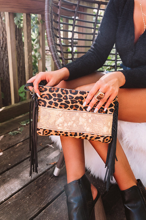 The Shiloh Leopard Print Leather Clutch