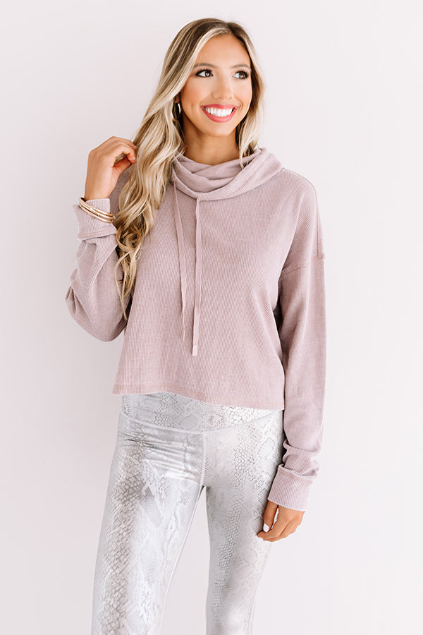 Latte Lover Waffle Knit Sweater In Dusty Purple