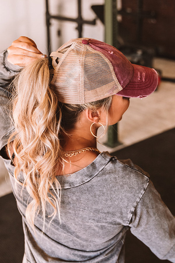 Chic Standard High Pony Tail Cap In Sangria