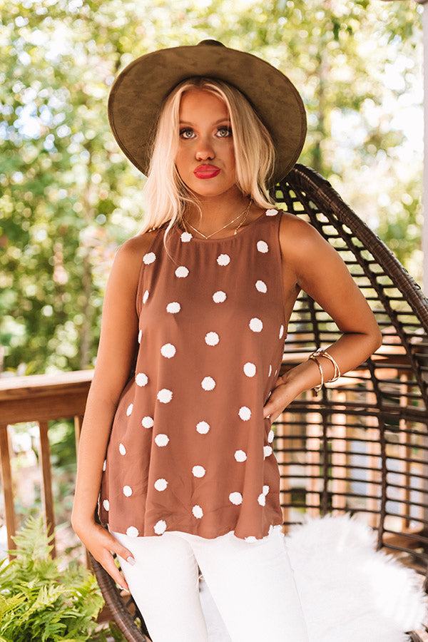 Seriously Outgoing Polka Dot Tank In Chocolate