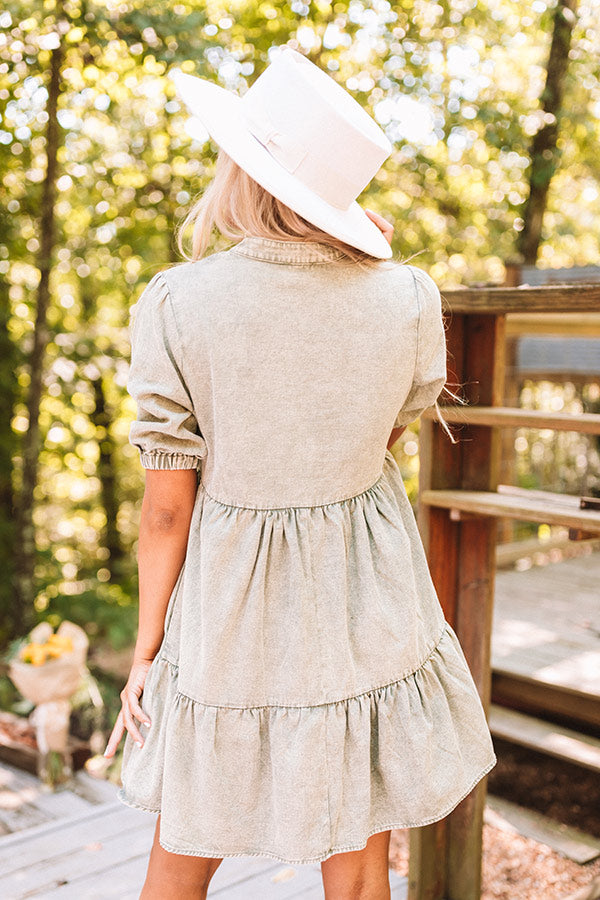 Taking The Scenic Route Babydoll Dress In Sage