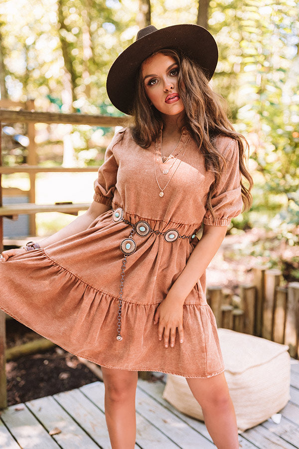 Taking The Scenic Route Babydoll Dress In Camel