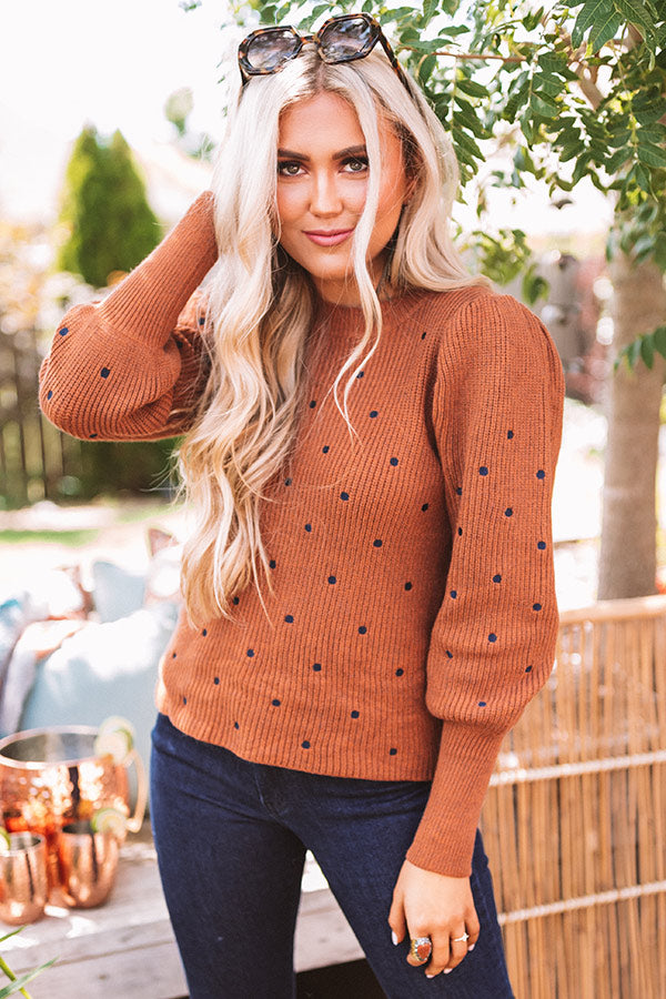 Apple Spice Delight Knit Sweater In Cinnamon