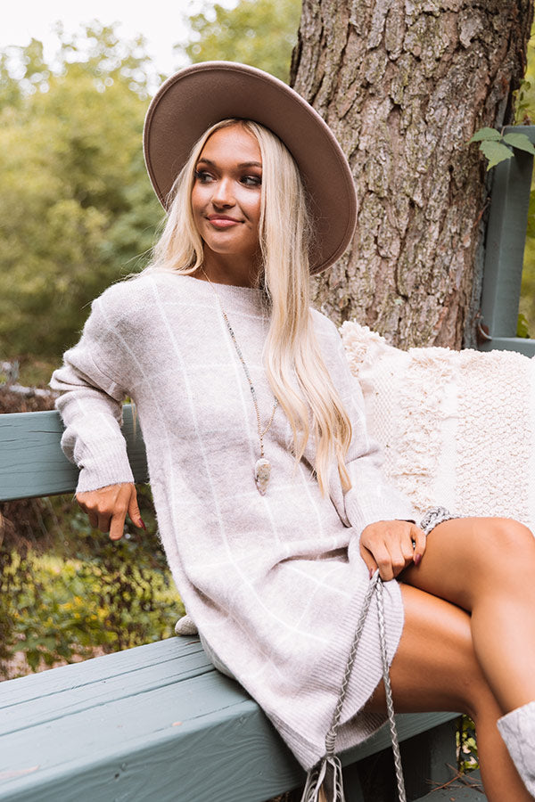 Crisp Evening Sweater Dress In Iced Latte