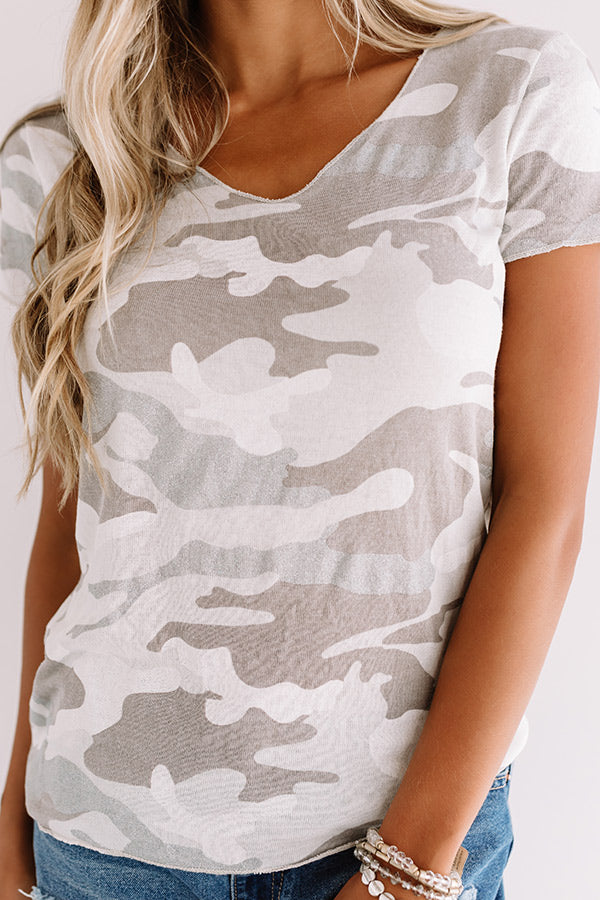 On The DL Camo Top In Taupe
