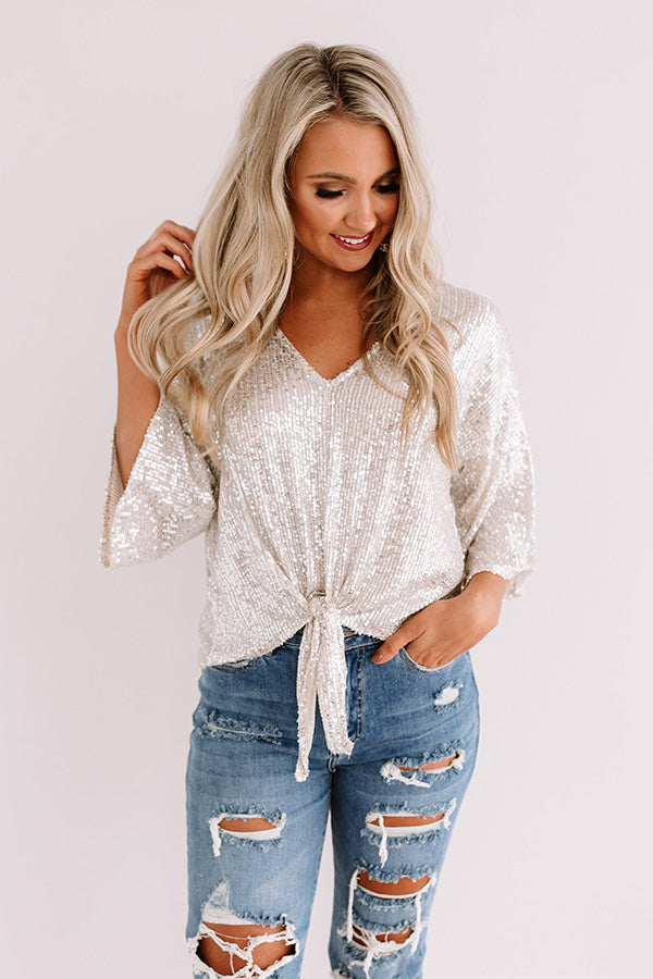 Times Square Twinkle Sequin Tie Top In Champagne