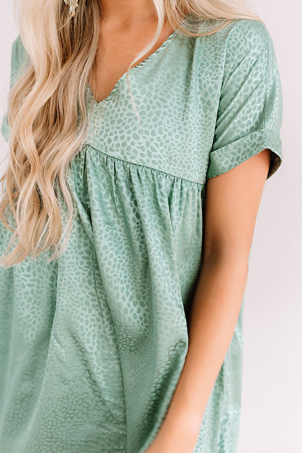 Stolen Hearts Babydoll Dress In Sage
