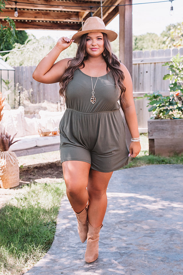Santa Fe Sunrise Romper In Army Green