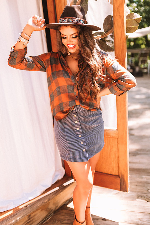 Hudson Valley Plaid Top In Pumpkin