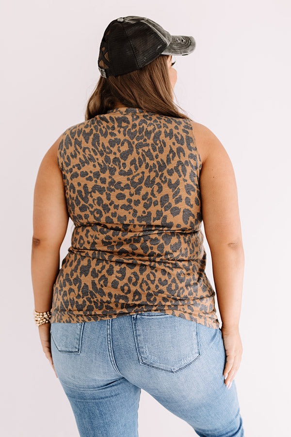 Cool Mom Leopard Shift Tank In Brown