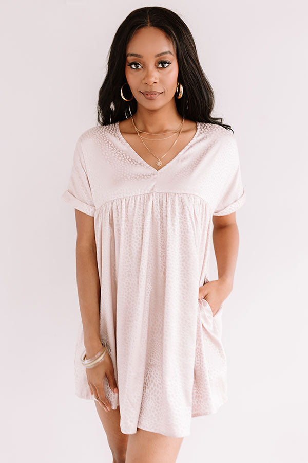 Stolen Hearts Babydoll Dress In Blush