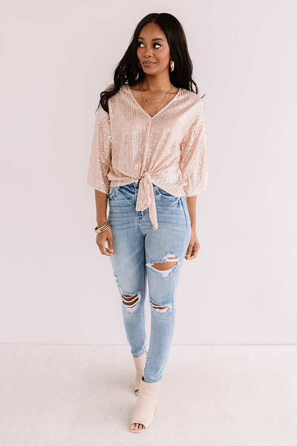 Times Square Twinkle Sequin Tie Top In Rose Gold