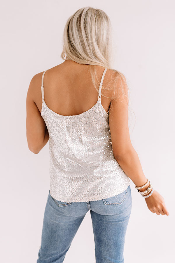 Getting Glam Sequin Tank In Champagne