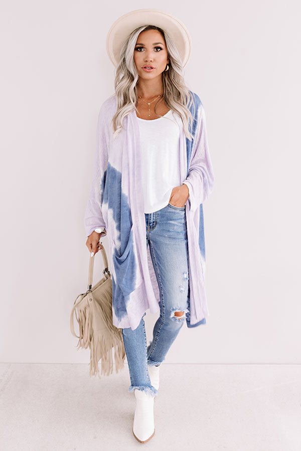 Hand In Hand Tie Dye Cardigan In Lavender