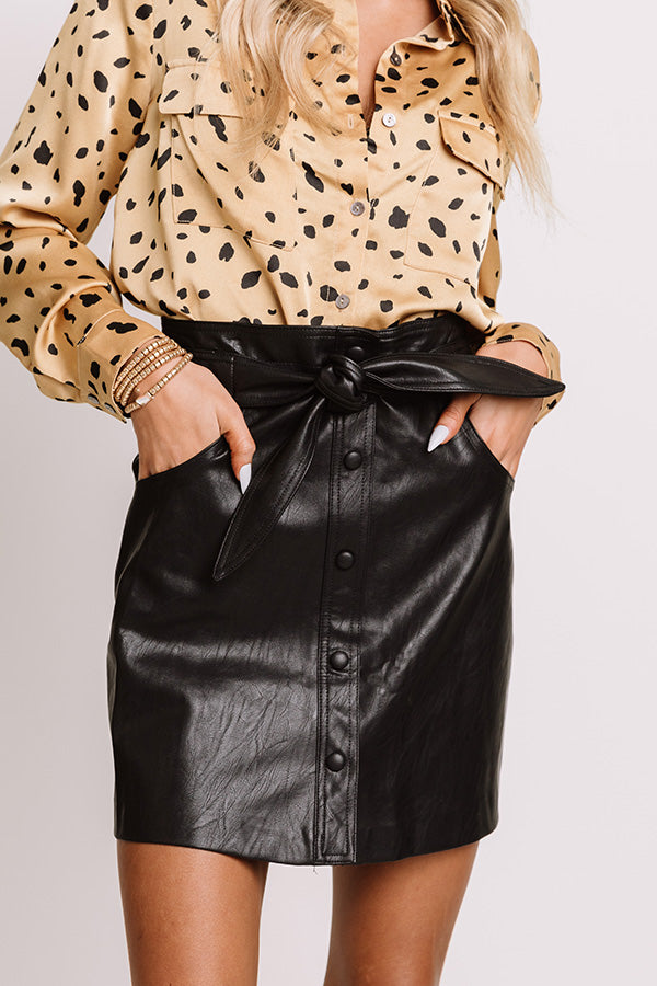 The Yule Faux Leather Skirt