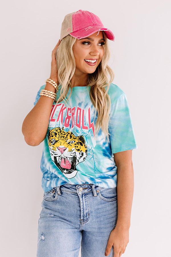 Rock And Roll Tiger Tie Dye Tee In Blue