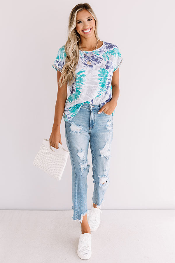 Along The Lane Tie Dye Shift Top In Turquoise