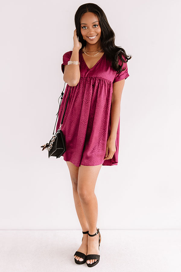 Stolen Hearts Babydoll Dress In Wine