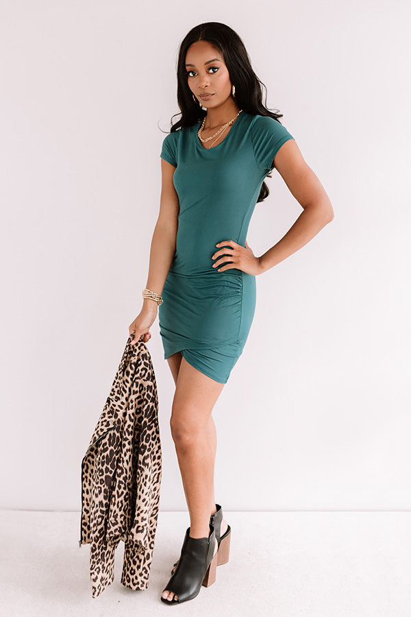Simply Clever Dress In Hunter Green