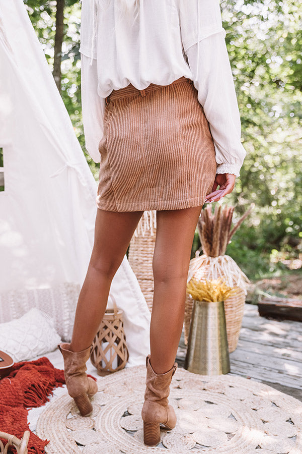 Wine Cellar Corduroy Skirt In Iced Mocha