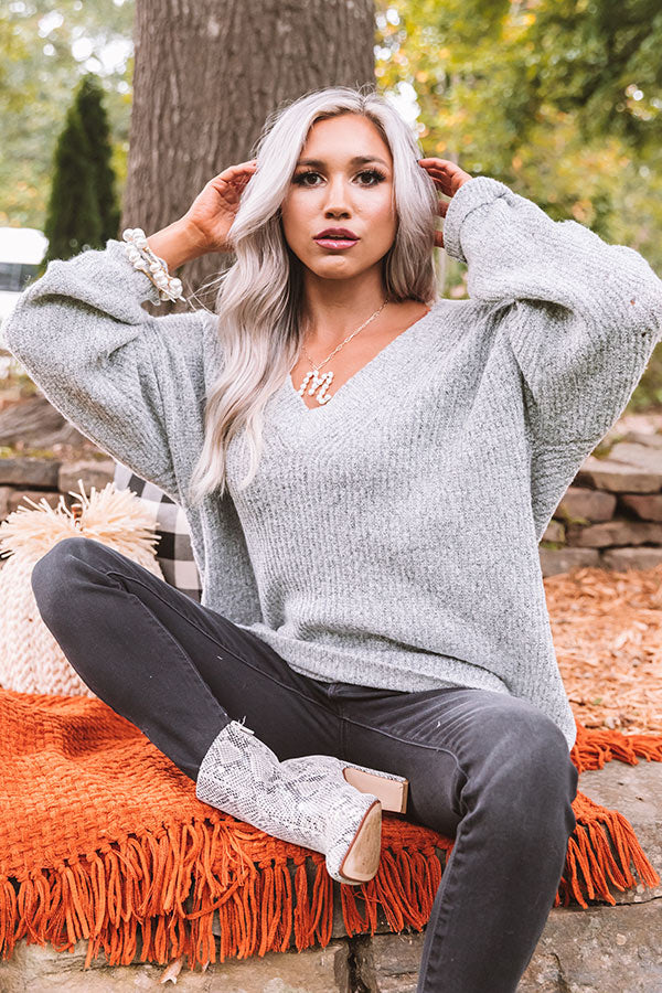 Denver Delights Knit Tunic Sweater In Grey