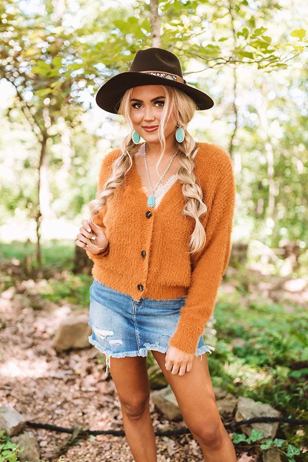 Cold Weather Memories Ultra Soft Cardigan In Pumpkin