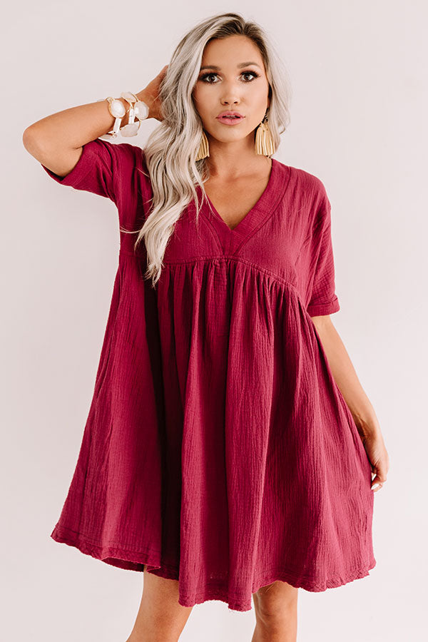 Truly Tempting Babydoll Dress In Wine