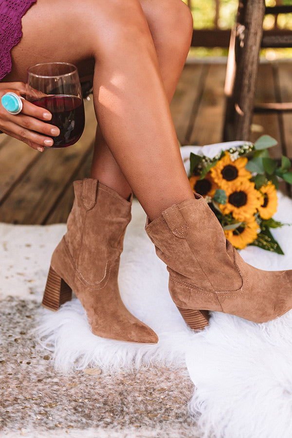 The Valley Faux Suede Ankle Bootie in Brown