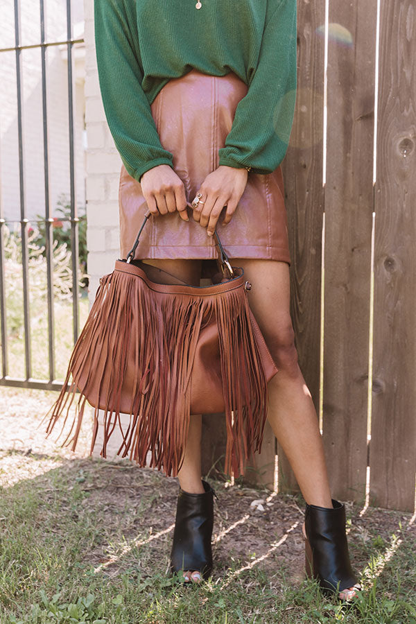 The Time Is Now Faux Leather Fringe Tote In Brown