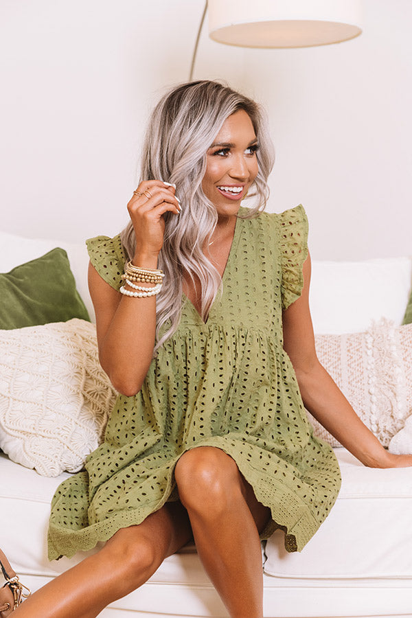 Sway Into Style Eyelet Romper In Sage