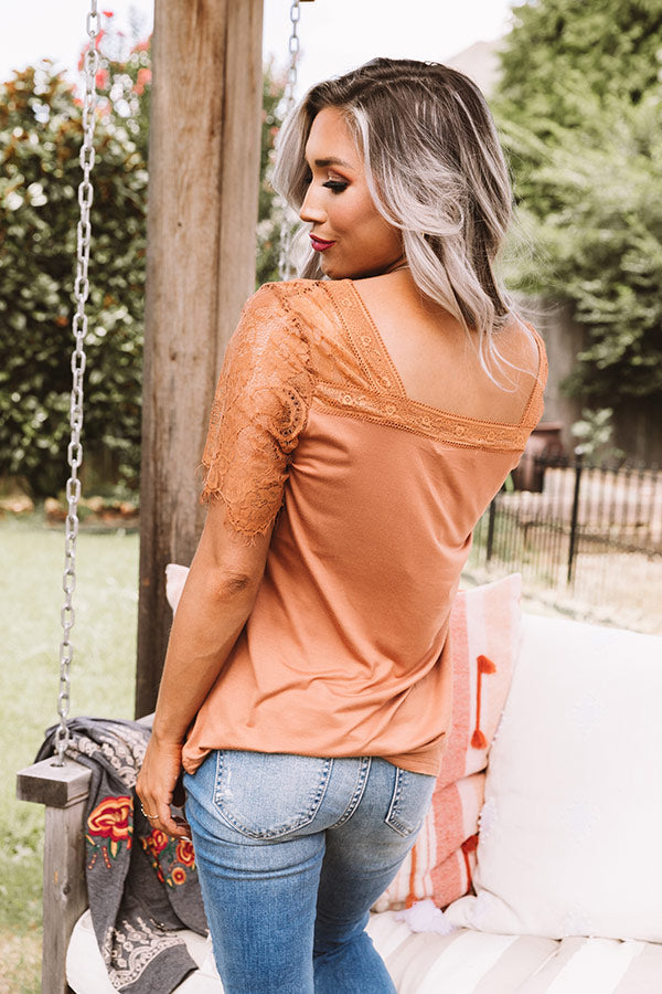 Sights On The Sea Lace Top In Rust